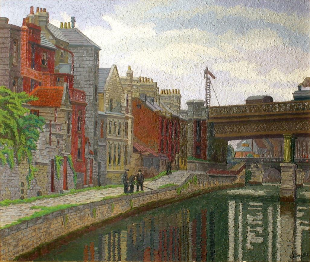 Charles Ginner, Old Houses and Skew Bridge, Bath